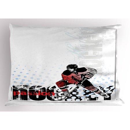 Hockey Pillow Sham Artwork of a Goalie with Protective Helmet and Stick Playing Sports Passion Theme, Decorative Standard Size Printed Pillowcase, 26 X 20 Inches, Multicolor, by (Playing Stick)