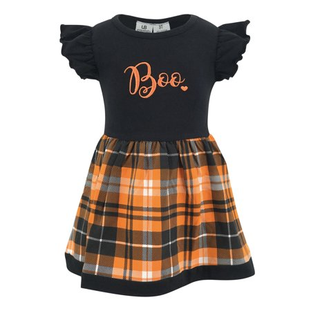 Unique Baby Girls Ghost Boo Plaid Halloween Dress (5) - Toddler Halloween Dresses