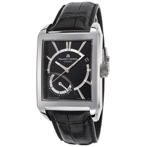 Maurice Lacroix Pontos Black Dial Black Leather Mens Watch PT6207-SS001-330