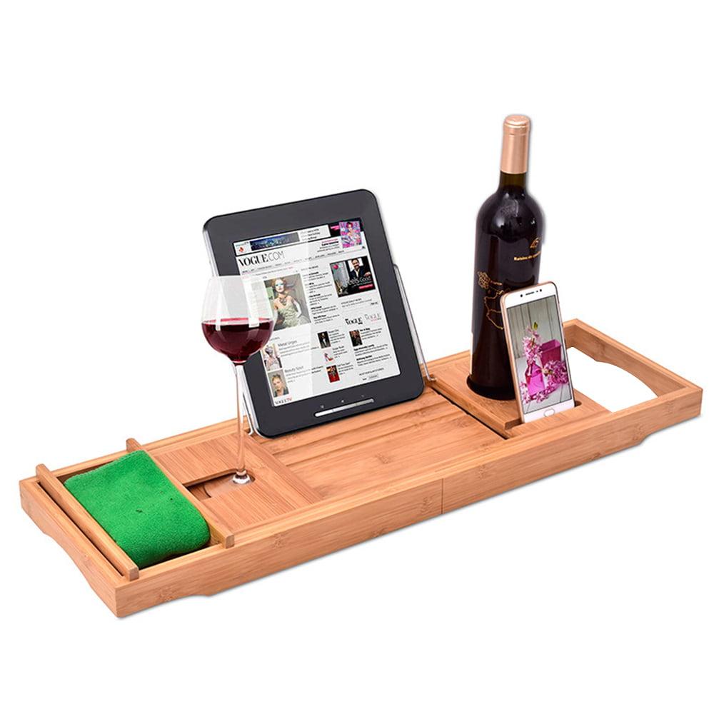 Bedler Bathtub Caddy Tray Bamboo Spa Bathtub Caddy Organizer Book Wine Holder Nonslip Bottom Extendable Sides Bathtub Tray