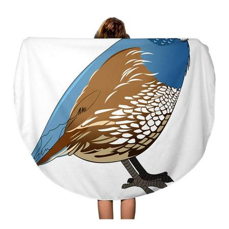 POGLIP 60 inch Round Beach Towel Blanket Blue Bird Cartoon Quail Simple Gradients Yellow Black Travel Circle Circular Towels Mat Tapestry Beach Throw - image 1 de 2