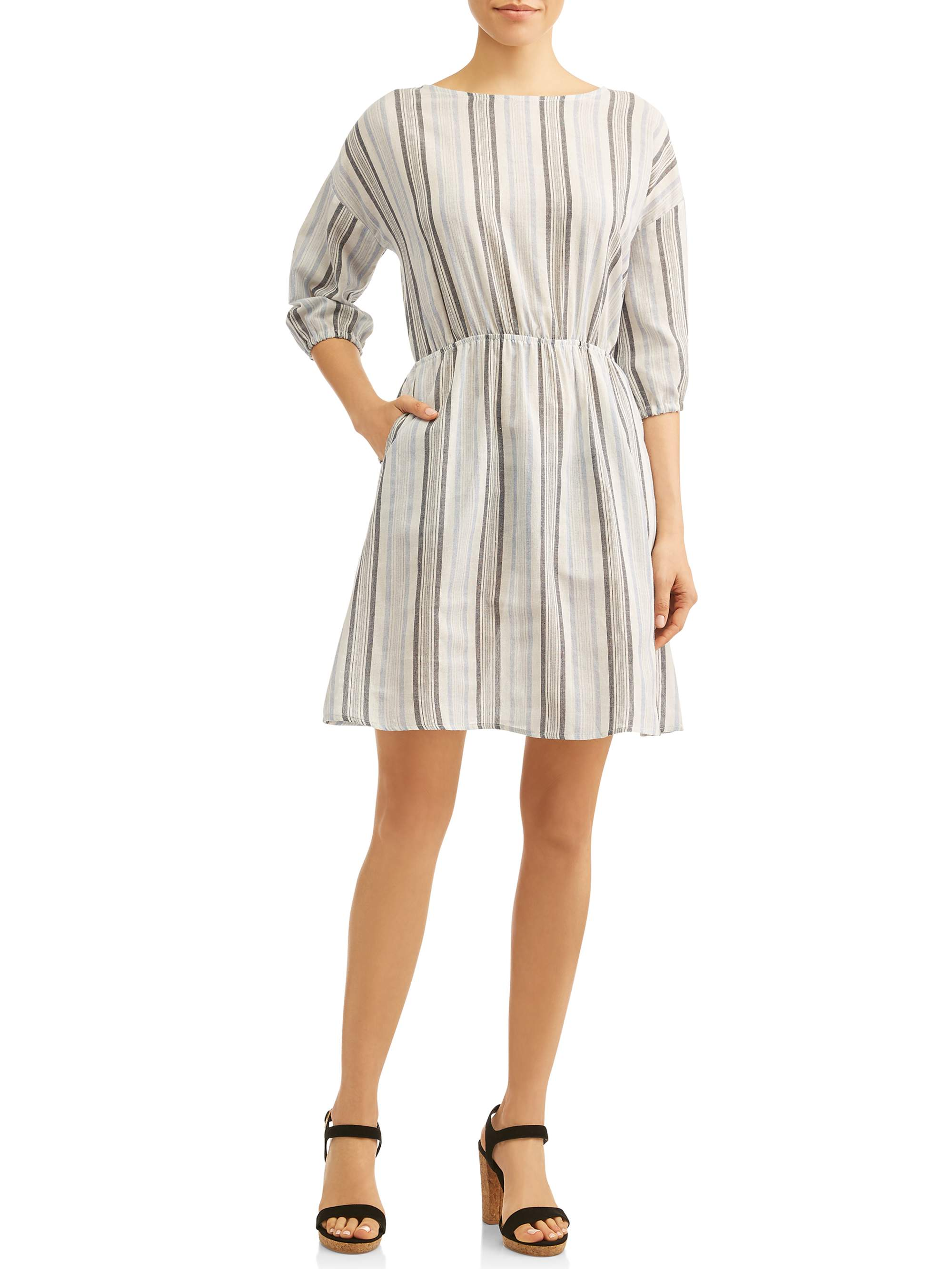 Women's 3/4 Sleeve Dress With Pockets
