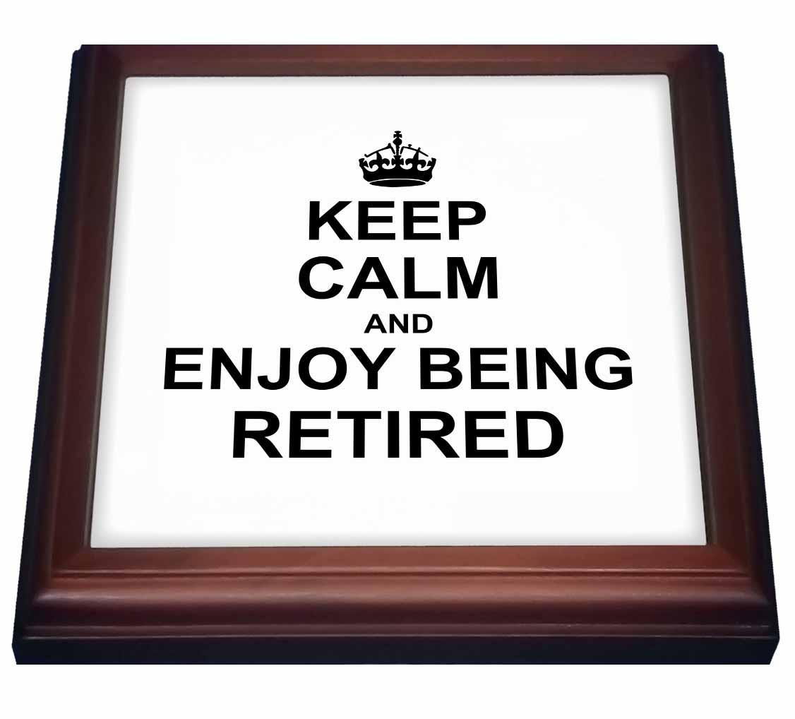3dRose Keep Calm and Enjoy being Retired. fun carry on themed Retirement gift, Trivet with Ceramic Tile, 8 by 8-inch
