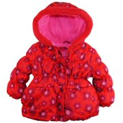 Platinum Little Girls' Floral Print Hooded Puffer Winter Jacket Coat with Bow