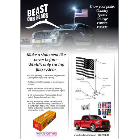 BEAST CAR FLAGS - World's Only Ever Mountable Car Flag with