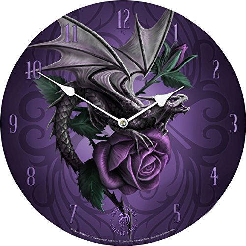 Licensed Anne Stokes Fantasy Gothic Dragon Beauty Purple Rose Wall Clock