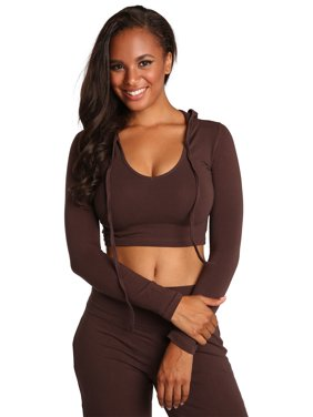 c65a4523cccd13 Product Image Sweet Vibes Junior Women Brown Stretch Jersey V-Neck Long  Sleeve Crop Top Hoodie