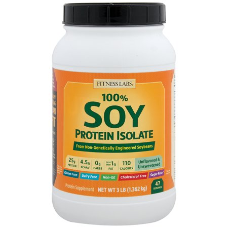 Soy Protein Isolate Powder, 100% Protein from Soy - Powered by SUPRO® - Gluten Free, Instant Mixing, Dairy Free, Vegan (Unflavored and Unsweetened, 3 Pounds)