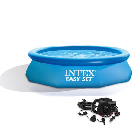 Intex 10ft x 30in Easy Set Inflatable Above Ground Swimming Pool with Air Pump (Pop Up Swimming Pool)