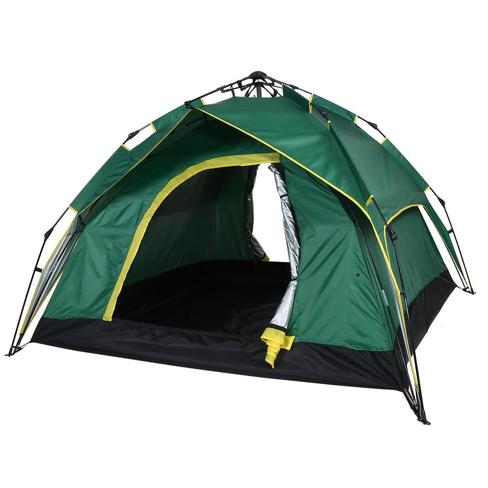 Waterproof Automatic Quick Open Double Layer Hydraulic Camping Tent for 3-4 Persons