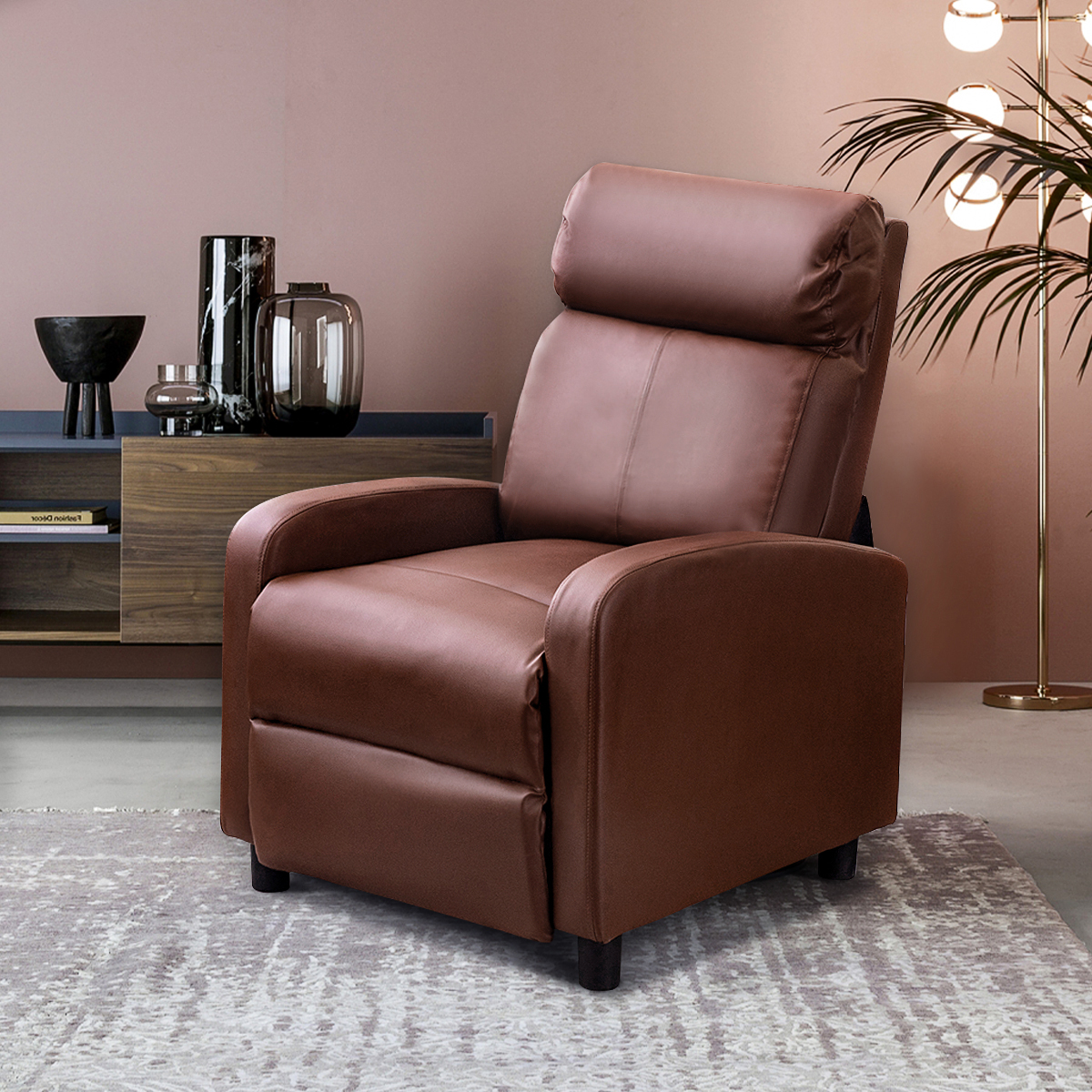 Picture of: Recliner Chair Leather Wingback Chair Sofa For Home Living Room Bedroom Walmart Com Walmart Com