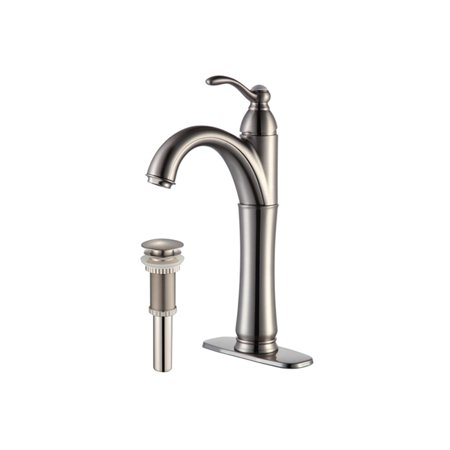 KRAUS Riviera Single Hole Single-Handle Vessel Bathroom Faucet with Matching Pop-Up Drain in Satin