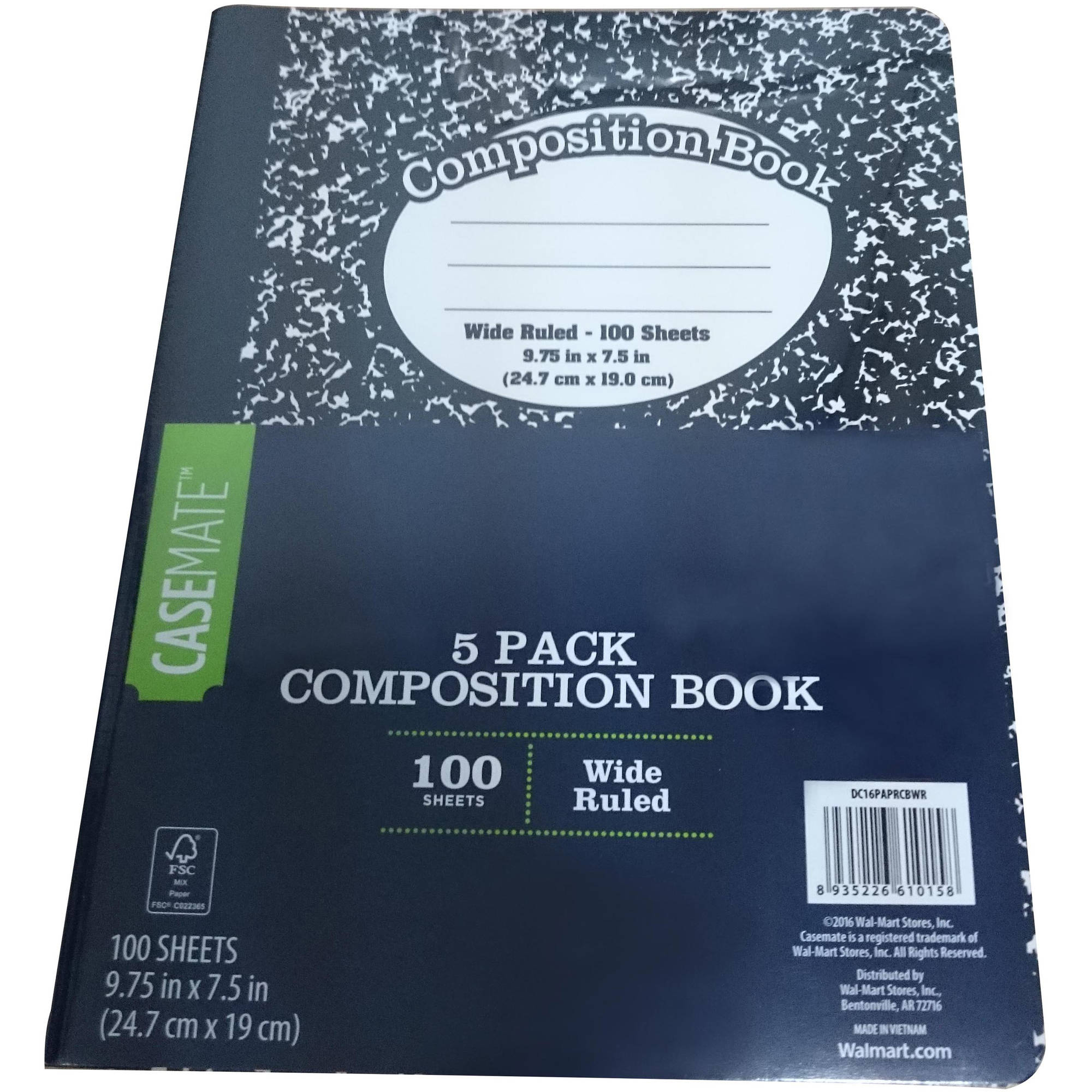 Casemate Marble Composition Book,  5-Pack