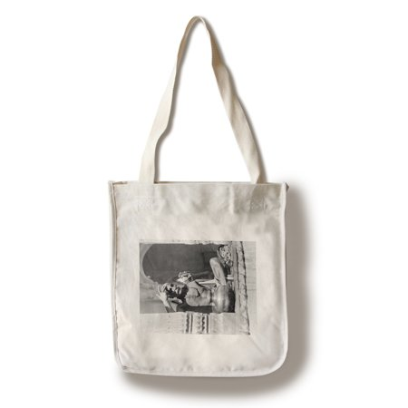 Screen Printing Tote Bags - Brahman Priest Painting Forehead in India Photograph (100% Cotton Tote Bag - Reusable)