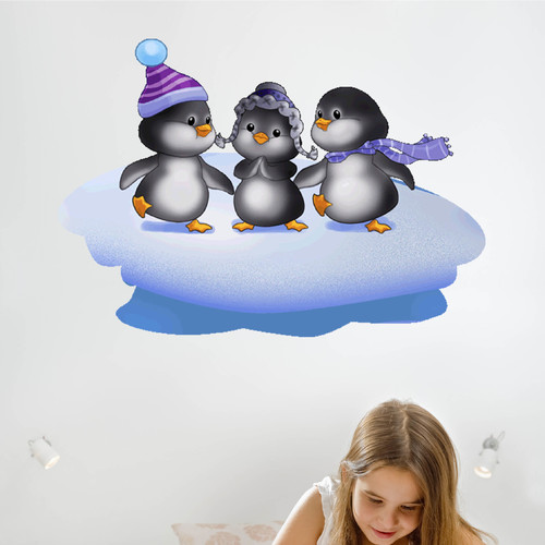 Wallhogs Three Penguins Cutout Wall Decal