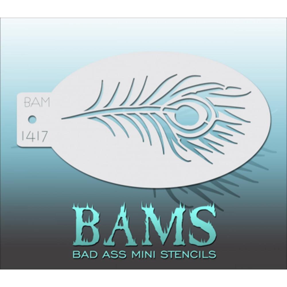 Bad Ass Peacock Feather Mini Stencil BAM1417