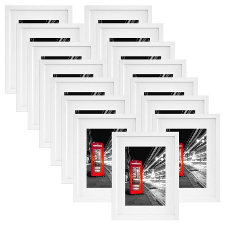 15 Pack - 11x14 White Picture Frames - Display Pictures 8x10 w/ Mat ...