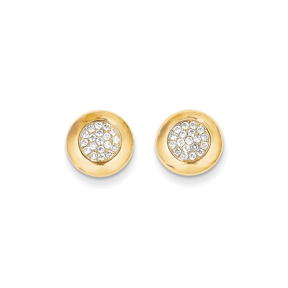 14k Yellow Gold Childs CZ Circle Post Earrings w/ Gift Box. (0.4IN x 0.4IN )