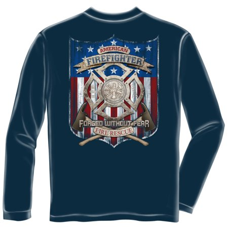 Firefighter Long Sleeve Patriotic Fire Eagle American Made Firefighter Medium