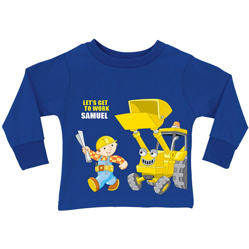 Personalized Bob the Builder Get to Work Scoop Royal Toddler Blue Long Sleeve Tee