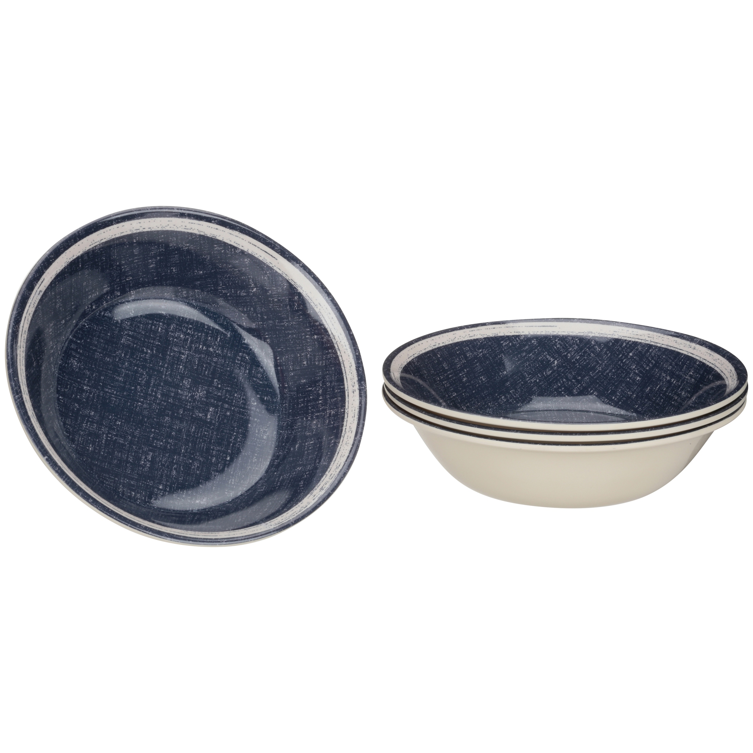 Mainstays Navy Linen Bowl, 4 Pack