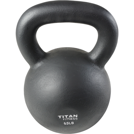 Cast Iron Kettlebell Weight 65 Lb Natural Solid Titan Fitness Workout Swing