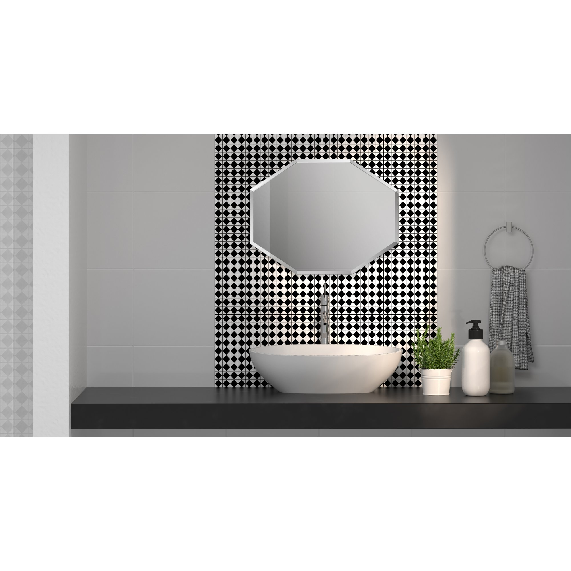 Mirrorize Canada 28x22 Inches Frameless Beveled Octagon Mirror Silver Geometric Hanging Modern No Frame Industrial Accent Wall Mirrors For Bathroom Vanity Entryway Bedroom Walmart Canada