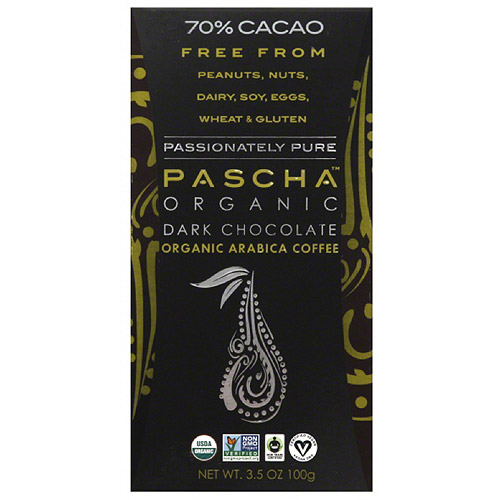 Pascha Organic 70% Cacao Dark Chocolate Organic Arabica Coffee, 3.5 oz, (Pack of 10)