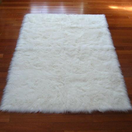 Snowy White Polar Bear Rectangular White Sheepskin Faux Fur Rug - 3'3 x 4'7 (White Faux Fur Rug)