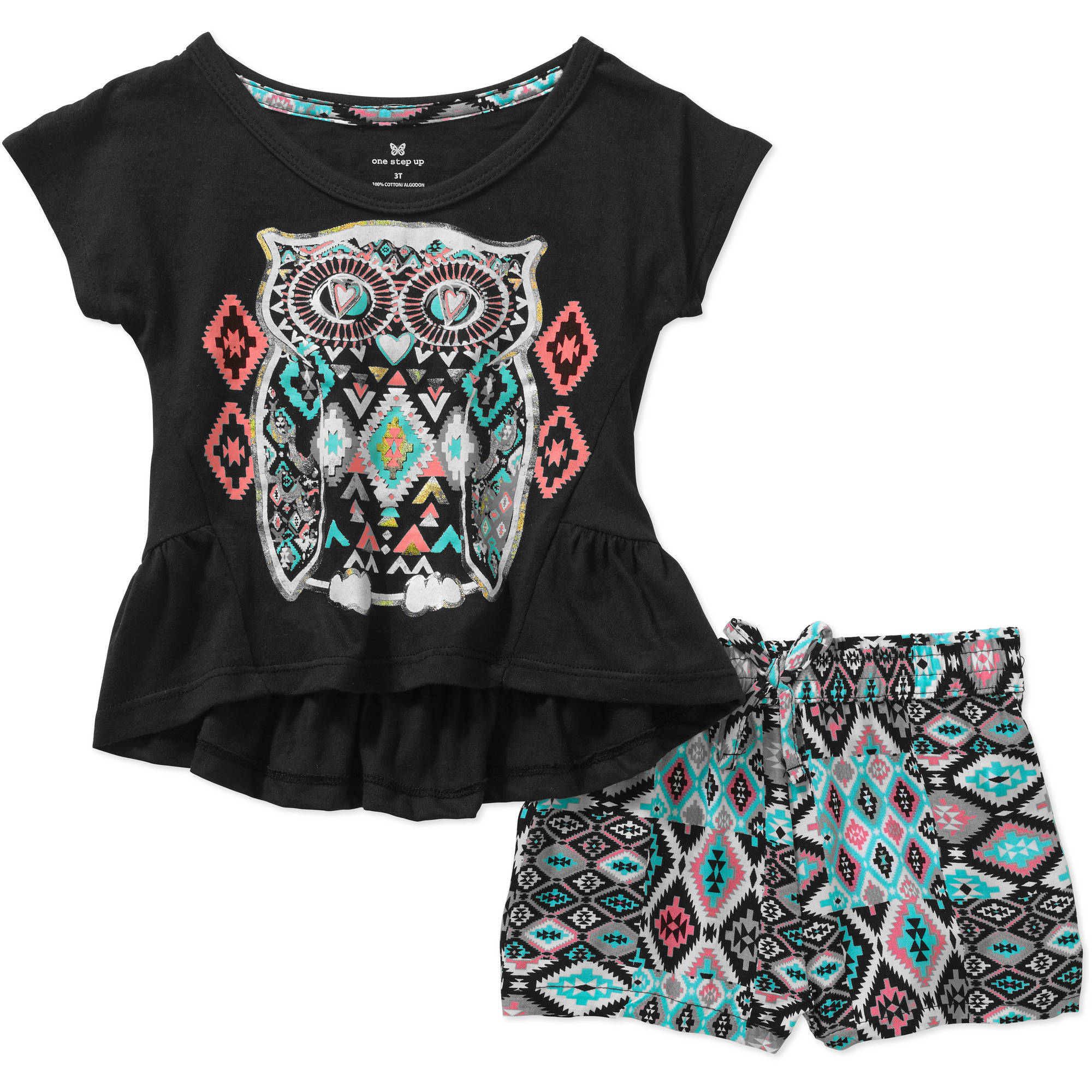 One Step Up Perfect Pairing Toddler Girls' 2-Piece Printed Knit Top & Woven Short Set