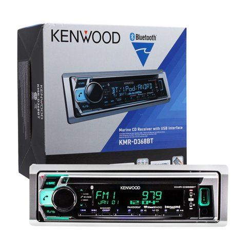 Kenwood KMR-D368BT Single DIN Bluetooth CD/AM/FM/Digital Marine Stereo  Receiver