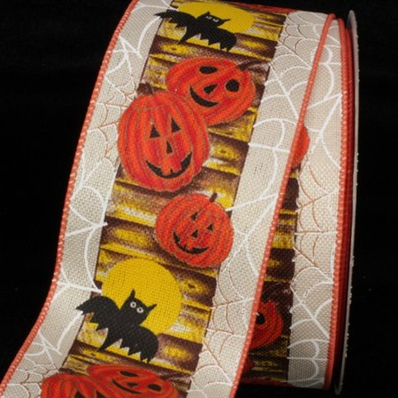Halloween Pumpkins and Bats Wired Craft Ribbon 2.5