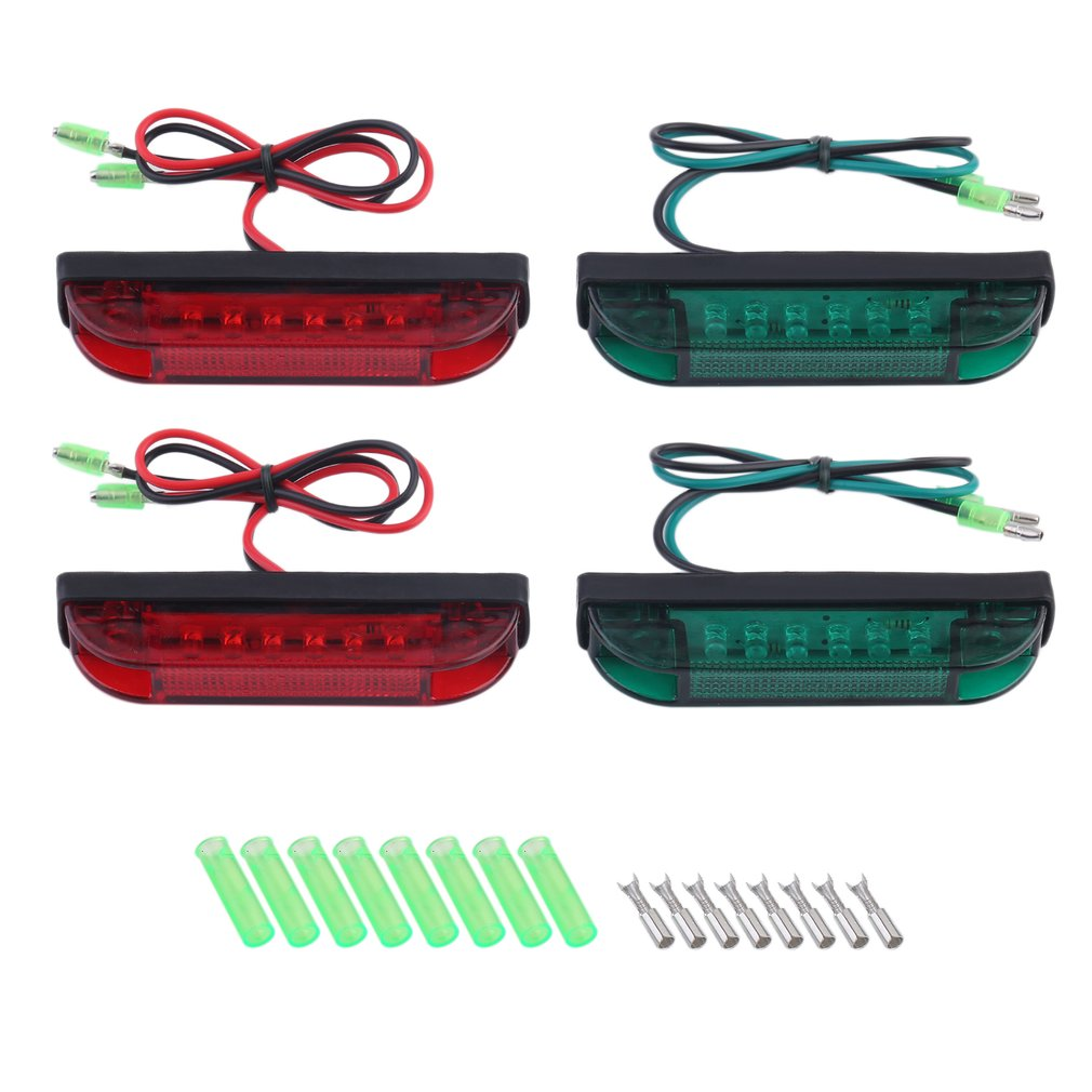 4 PCS Boat Navigation LED Light Marine Strip Light Bar Red Green Signal Lamp