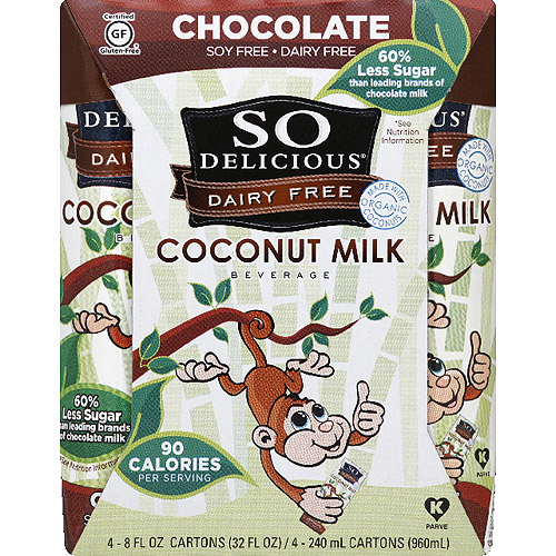 So Delicious Dairy Free Chocolate Coconut Milk, 8 fl oz, 4 count (Pack of 6)