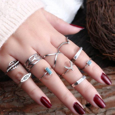Top Source - Fashion Women Crystal Joint Knuckle Nail Ring Set of pcs Finger Rings Bohemian Punk Ring Gift - Walmart.com