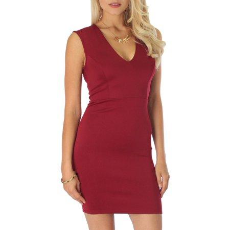 5ed56a5a093 Lyss Loo - Lyss Loo Cocktail Hour V-Neck Bodycon Dress - Walmart.com