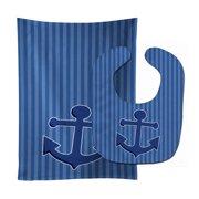 Nautical Anchor Baby Bib & Burp Cloth