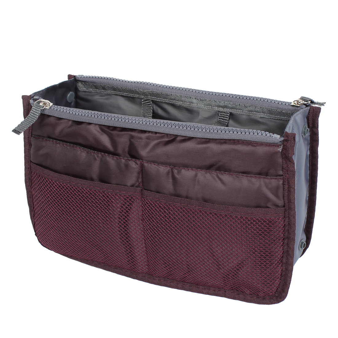 Burgundy Cosmetic Makeup Storage Handbag Tote Insert Purse Organizer Pouch Bag