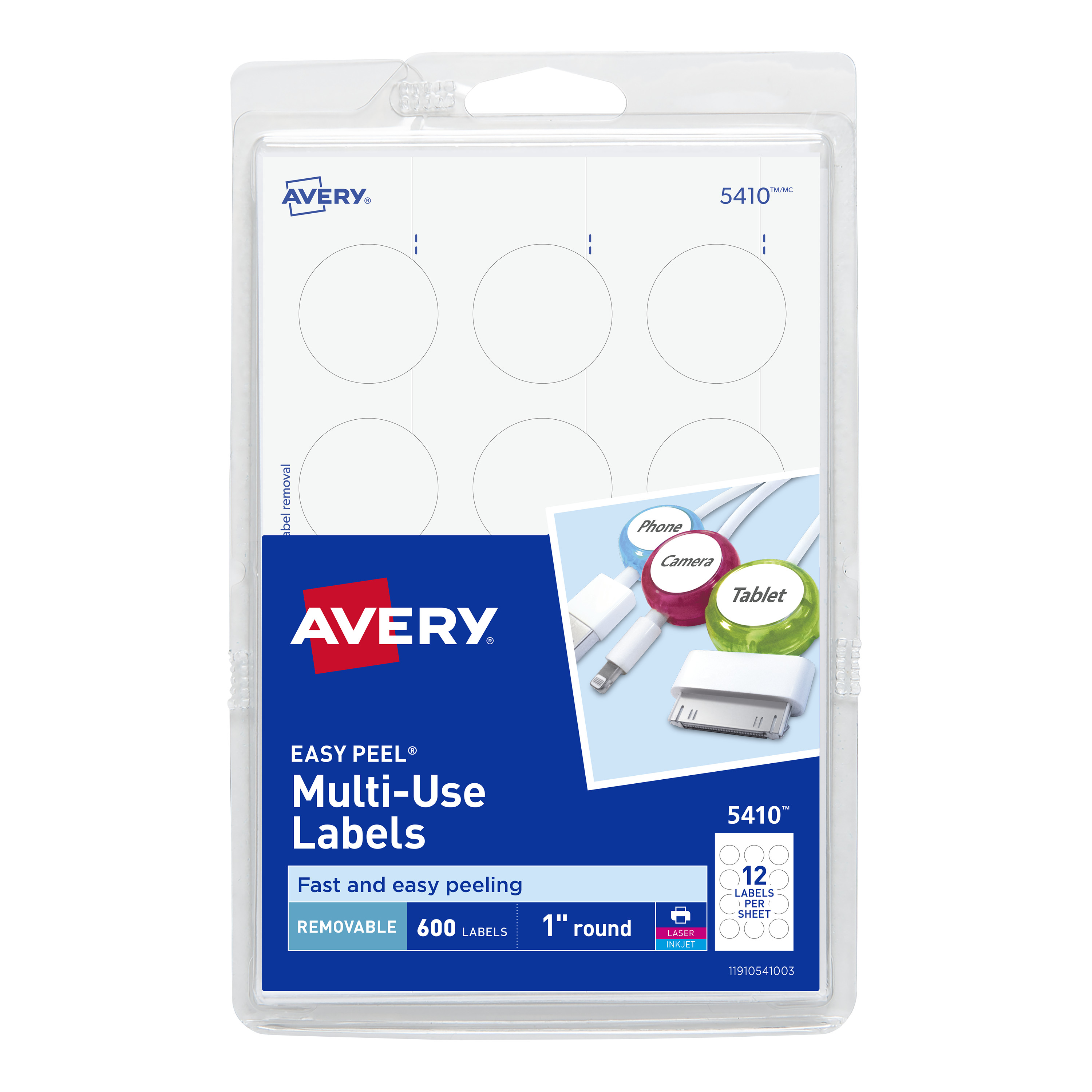 "Avery Removable Multiuse Labels, Removable Adhesive, 1"" Diameter, 600 Labels (5410)"