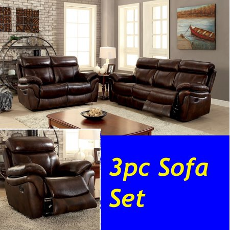 Living Room Furniture 3pc Sofa Set Motion Reclining Loveseat Recliner Top Grain Leather Match Brown