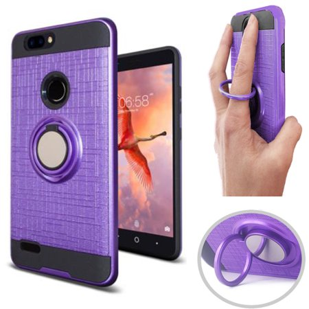 "Phone Case for ZTE Blade Z MAX Z982 / ZTE Sequoia (6"" screen display) Finger Holder Dual Layered Ring Stand Case (Ring-Stand Purple-Black TPU)"