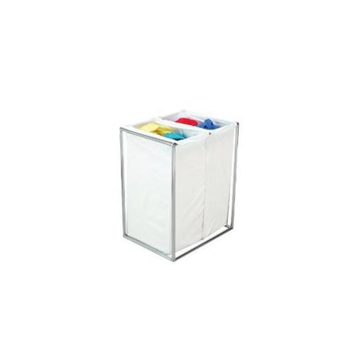Bag Stand 2715 Double Chrome Hamper With White Cotton Bags