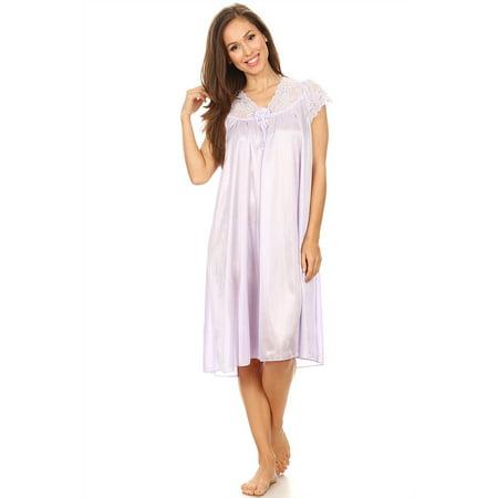 Pink Roses Nightgown (9048 Women Nightgown Sleepwear Pajamas Woman Sleep Dress Nightshirt Purple L )