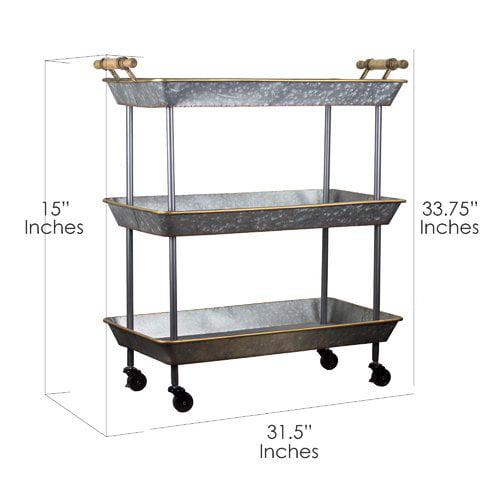 Gracie Oaks Lurie 3 Tier Galvanized Metal Shelf on Wheels Bar Cart