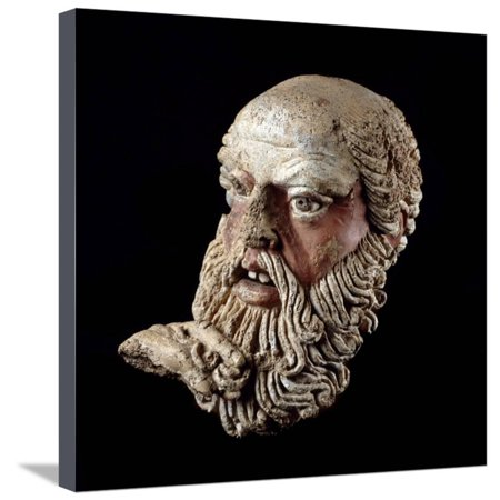 Etruscan Art : Head of a Bald Old Man Stretched Canvas Print Wall Art - Bald Old Man