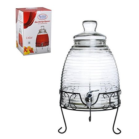 Mexican Style 2.4 Gallon Glass Beverage Dispenser with Metal Stand (3 Gallon Dispenser)