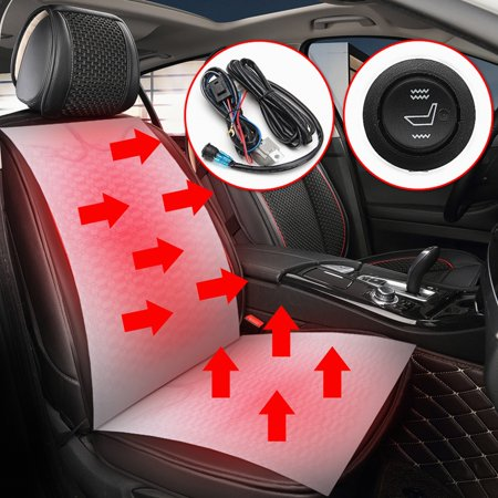 2x Universal 12V 2 Seats 2 dial 5-position Switch Carbon Fiber Heater Heated Pad Warmer Cushion Kit (Size:48cm x 27cm) (Automobile Seat Heater Kit)