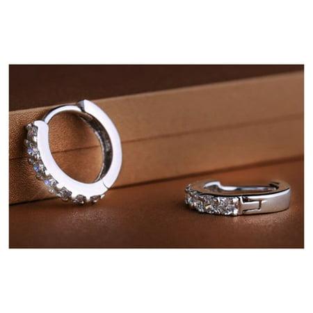 Men Women Fashion Jewelry 925 Sterling Silver Sparkling Rhinestones Hoop Diamond Stud Earrings Hoop Huggie Gift