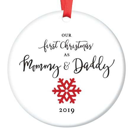 1st Christmas as Mommy & Daddy 2019, New Parents Ornament, Red Snowflake Porcelain Ornament, 3