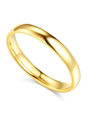 14K Solid Yellow Gold 3MM Plain Regular Fit Wedding Band, Size 7